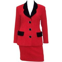 Classy C.1990 Karl Lagerfeld Red Wool Suit With Black Velvet Accents