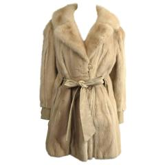 Vintage 1970's Mod Cream Mink Fur Jacket Large Coat