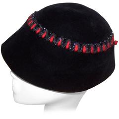 French C.1950 Black Wool Bucket Hat With Beading & Red Embroidery