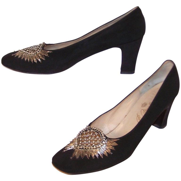 Regal 1960's Bruno Magli Black Silk Faille Shoes With Rhinetones