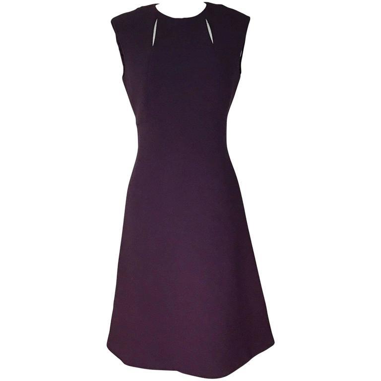 Pauline Trigere Vintage 1960s Style Purple Cut Out A-Line Shift Dress 1