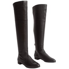 Alaia black leather riding boots, size 37.5