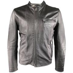 Men's LEVI'S MADE & CRAFTED 42 Black Leather Snap Collar Motorcycle Jacket