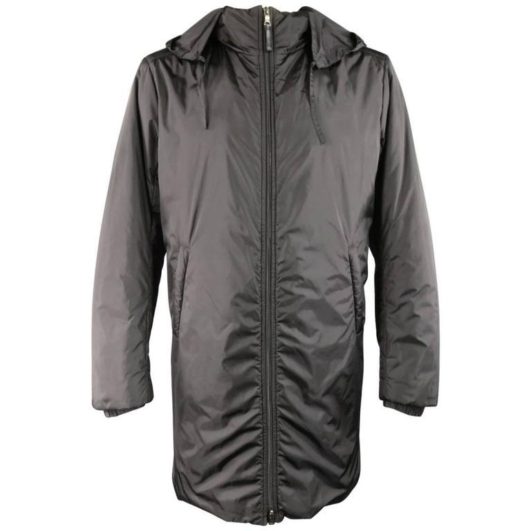 Men's PRADA 40 Black Nylon Double Hooded Rain Jacket For Sale at ...