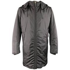 Men's PRADA 40 Black Nylon Double Hooded Rain Jacket