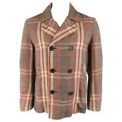 Men's ALEXANDER MCQUEEN 40 Khaki & Red Plaid Cotton / Wool Light Weight Peacoat