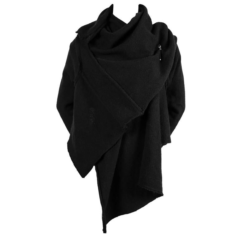 789250df5a COMME DES GARCONS asymmetrical black wool wrap sweater with raw edges For  Sale