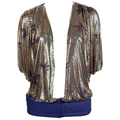unworn 1984 GIANNI VERSACE Oroton chainmail mesh jacket with hand painted flower