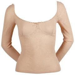 2003 ALEXANDER MCQUEEN peach pointelle knit sweater with bustier detail
