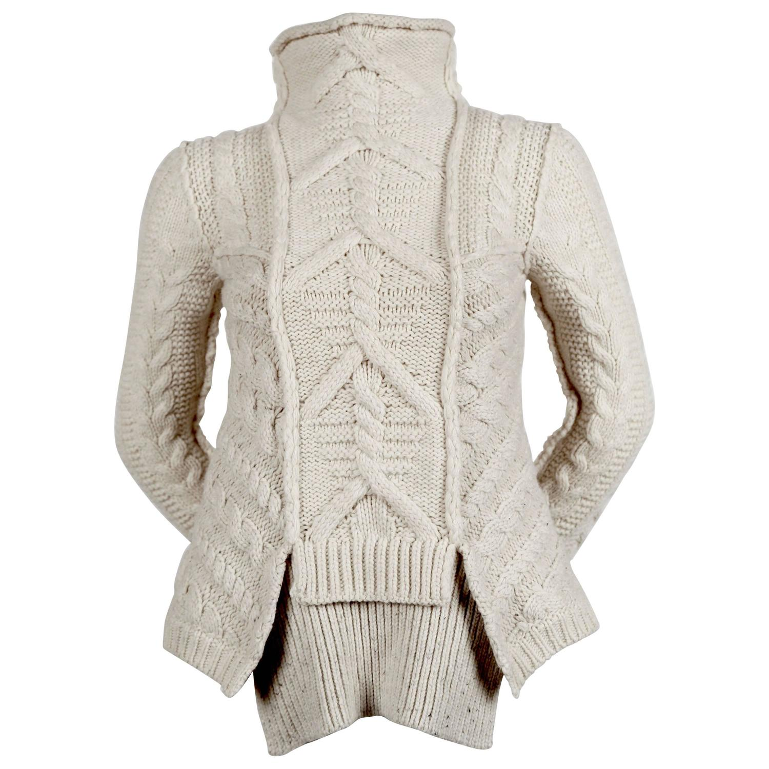 rare CELINE by PHOEBE PHILO wool cable knit sweater with ...