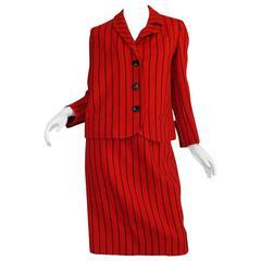 Important c1963 Rudi Gernreich Striped Unmatched Collar Suit