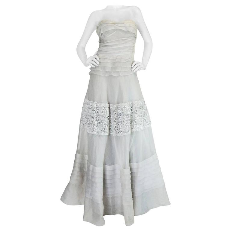 1950s Hardy Amies Couture Fine Silk Organza & Lace Dress For Sale