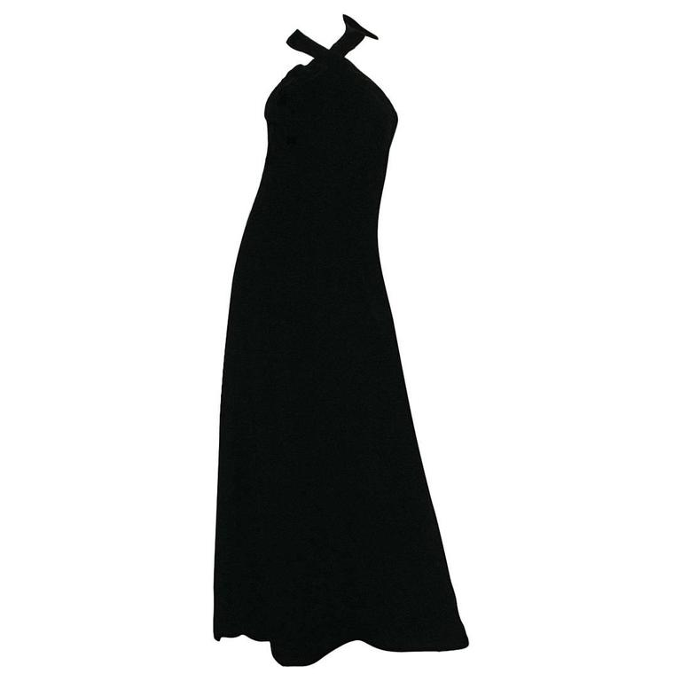 Late 1970s Christian Dior Demi-Couture Velvet Halter Dress