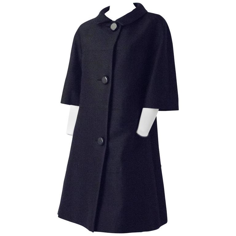 50s Saks Fifth Ave Black Silk Trapeze Coat