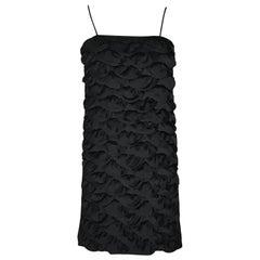 Chanel 09C Black Petal Textured Spaghetti Strap Mini Dress