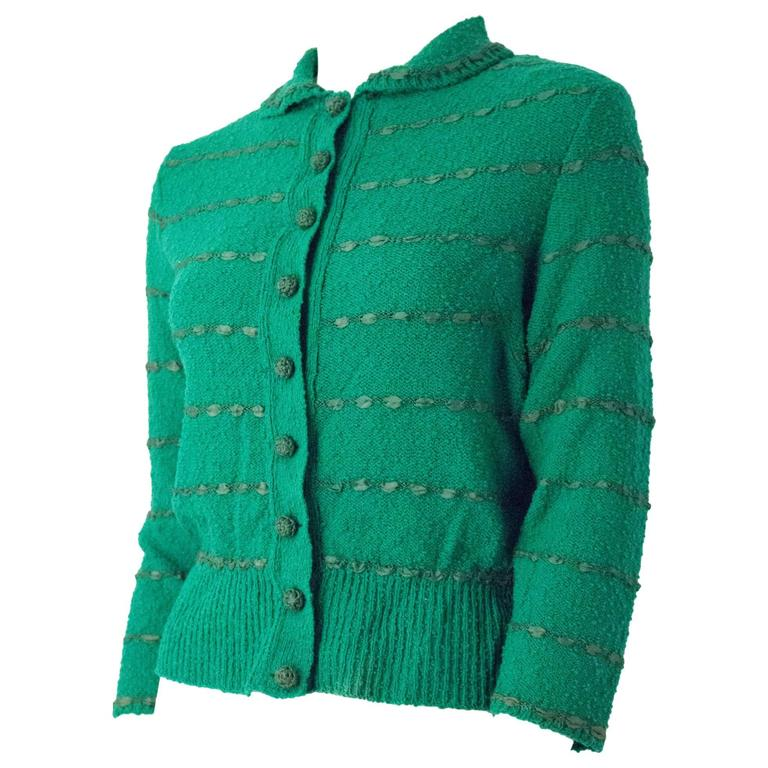 50s Green Knit Sweater Top With Ribbon Weave For Sale