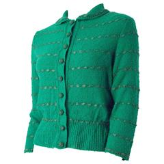 50s Green Knit Sweater Top With Ribbon Weave
