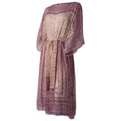 70s Silk Chiffon Printed Handkerchief Dress