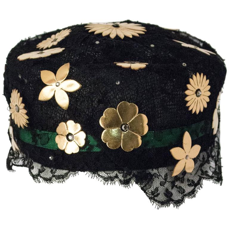 60s  Mr. John Black Lace Pill Box Hat