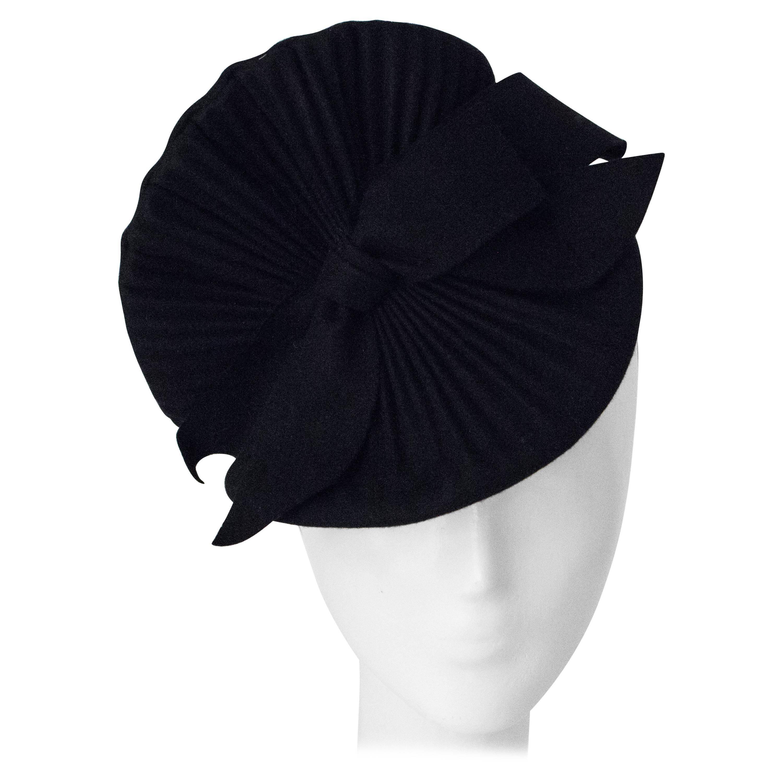 40s Black Felt Fan Style Fashion Hat