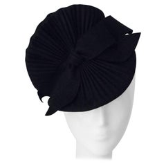 40s Black Felt Fan Style Fashion Hat