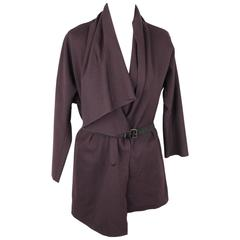 LANVIN Dark Purple Wool Blend Waterfall Drape CARDIGAN w/ Belt