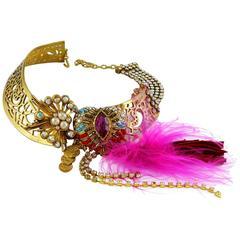Christian Lacroix Vintage Opulent Jewelled Choker Necklace