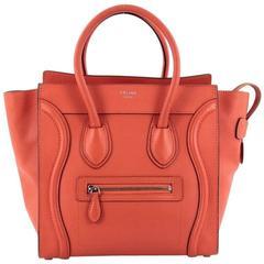 Celine Luggage Handbag Grainy Leather Micro