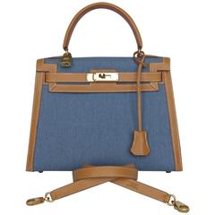 Exceptional Hermes Kelly Sellier Bag Gold Leather Blue Jean Canvas Gold Hdw