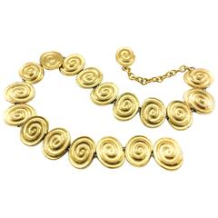 Yves Saint Laurent Gold-Plated 'Spiral' Belt / Necklace - 1980's