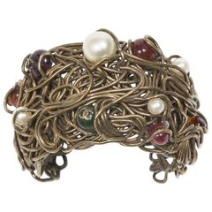 1997/98 Chanel Fabulous Cuff Bronze Fake Pearls And Glass Pearls