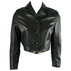 Versace Black Leather Cropped Jacket