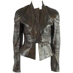 Valentino Chocolate Brown Tapered Leather Jacket - 8