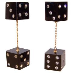 Fun C.1970 Rhinestone Dice Dangle Clip On Earrings