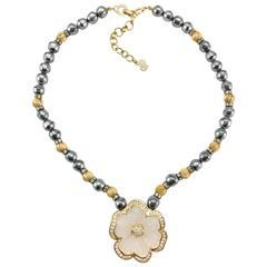 Dior Faux Pearls and Diamanté Flower Necklace - 1990's