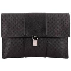 Prada Push Lock Portfolio Handbag Perforated Saffiano Leather Large