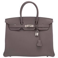 Hermes Etain Togo 35cm Palladium Hardware Birkin Bag
