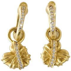 BARRY KIESELSTEIN-CORD Earrings Heart Huggie Wear 2 Ways 18K Green Gold Diamonds