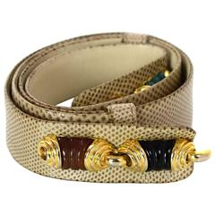 Judith Leiber Beige Lizard Adjustable Stone Belt 36""