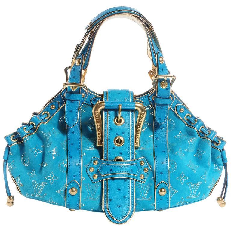 Rare Louis Vuitton Turquoise Suede Ostrich Skin Monogram Bag