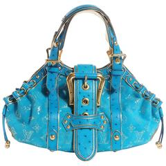 Louis Vuitton Turquoise Suede Ostrich Skin Monogram Bag