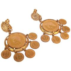 Exotic 1960's Miriam Haskell Roman Gold Coin Earrings