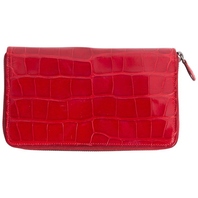 Alaia red patent leather croc-embossed wallet