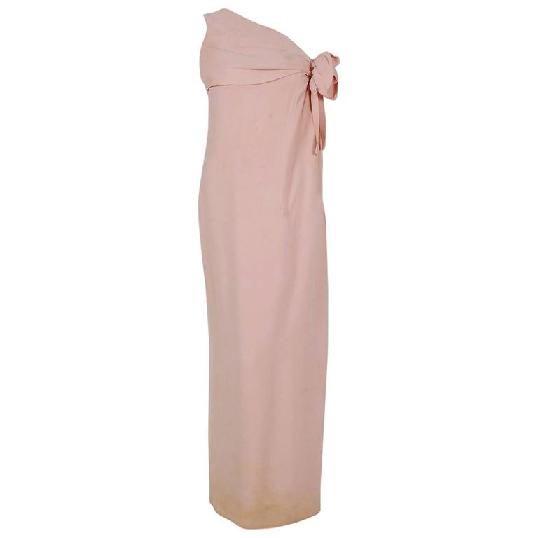 1961 Christian Dior Haute-Couture Documented Champagne Pink Silk Goddess Gown For Sale