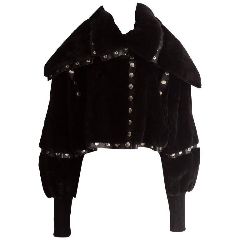 Dolce & Gabbana studded sheared beaver fur cropped jacket, AW 2003 1