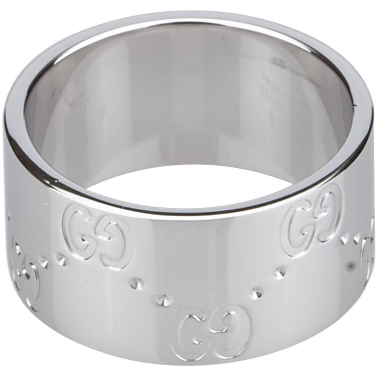 gucci silver icon band ring for sale at 1stdibs