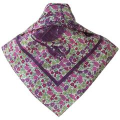 Limited Rare Hermes For Liberty Cotton Scarf Ex Libris and Flowers 70 cm