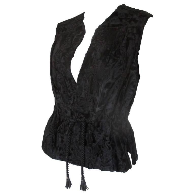 Black Persian Lamb Sleeveless Fur Vest