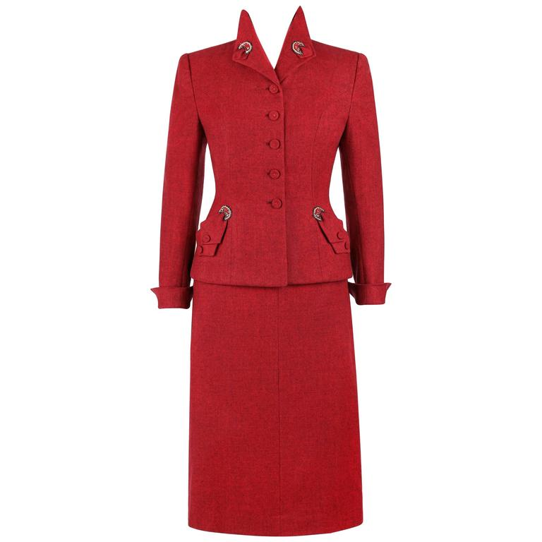 STYLED BY VENNE c.1940's 2 Piece Ruby Red Wool Embellished Blazer Skirt Suit