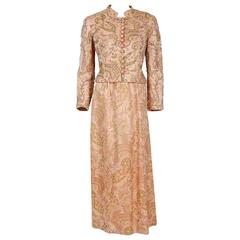 1960's Larry Aldrich Beaded Pink Paisley Motif Silk-Brocade Gown & Jacket Set